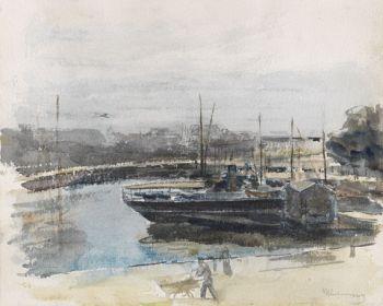 Max Liebermann - Quai in Hamburg / Meereswellen