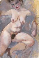 George Grosz - Sitzender Frauenakt