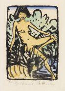 Otto Mueller - Am Ufer sitzendes Mädchen (Sitzendes Mädchen in Landschaft)