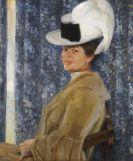Fritz Erler - Porträt der Anna Erler mit Federhut