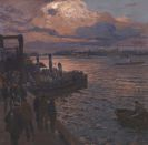 Friedrich Kallmorgen - Hamburger Hafen im Abendlicht