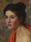 Otto Heinrich Engel - Weiblicher Studienkopf vor floralem Hintergrund