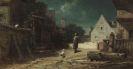 Carl Spitzweg - Nachtwächter bei Mondschein, Hund und Katze