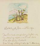 Hermann Hesse - Rebhügel, See und Berge. Eigenhändiges Gedicht mit Orig.-Aquarell
