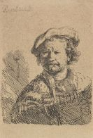 Harmensz. van Rijn Rembrandt - Selbstbildnis mit flacher Kappe