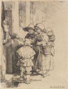 Harmenszoon Rembrandt van Rijn - Blinder Leierkastenmann mit Familie erhält Almosen