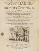 Johann Henricus Hottinger - Promtuarium, sive Bibliotheca orientalis