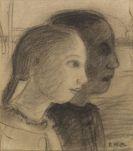 Paula Modersohn-Becker - Zwei Mädchenköpfe im Profil nach rechts