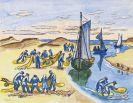 Hermann Max Pechstein - Fischer am Strand bei der Arbeit