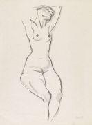 George Grosz - Sitzender weiblicher Akt mit erhobenen Armen