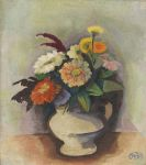 Hofer, Karl - Zinnienstrauß in Vase