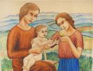 Georg Schrimpf - Frau mit Kind vor Landschaft