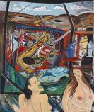HP (d. i. Hans Peter) Zimmer - Zwei Frauen vor einer Landschaft