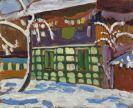 Gabriele Münter - Haus mit Schneebäumen in Kochel