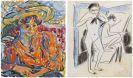 Ernst Ludwig Kirchner - Sitzende mit großem Hut, Emy Frisch / Szene im Atelier (Fränzi (Marzella) und Artistin)