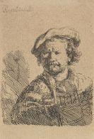 Harmenszoon Rembrandt van Rijn - Selbstbildnis mit flacher Kappe