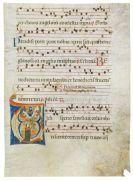 Manuskripte - Antiphonarblatt mit Bildinitiale. Italien um 1290