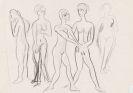 """Ernst Ludwig Kirchner - Fünf stehende Akte / Skizze nach """"Hochzeit des Boccaccio degli Adimari und der Lisa da Ricasoli"""""""