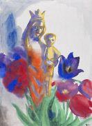 Emil Nolde - Madonnenfigur mit Kind und Tulpen