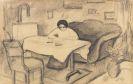 August Macke - Elisabeth am Tisch im Wohnzimmer