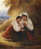 August Riedel - Zwei Mädchen in Albaner Tracht