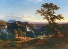 Johann Jakob Frey - Die Kaskaden von Tivoli in der Abendsonne