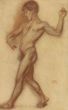 """Franz von Stuck - Männlicher Akt (Studie zu """"Der Tanz"""")"""
