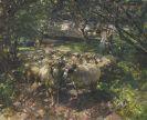Heinrich von Zügel - Schafherde im Obstgarten