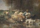 Heinrich von Zügel - Schäfer mit Herde am Wasser
