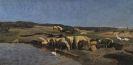 Johann Baptist Hofner - Oberbayerische Landschaft mit Schafen an der Tränke