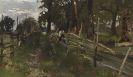 Josef Wenglein - Bauernbub, am Gatter sitzend