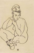 Egon Schiele - Sitzender weiblicher Akt, die Arme auf die Knie gestützt, die Beine verschränkt