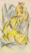 Franz Marc - Zwei gelbe Tiere (Zwei gelbe Rehe)