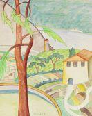 Hermann Hesse - Bei Agra. Original-Aquarell