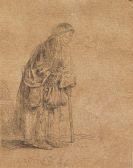 Harmenszoon Rembrandt van Rijn - Bettlerfrau auf einen Stock gestützt