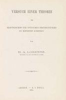 Hendrik Antoon Lorentz - Versuch einer Theorie