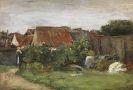 Max Liebermann - Dorfhäuser mit Sonnenblumen