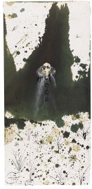 Salvador Dalí - Sans titre (Personnage dans un paysage agreste fleuri)