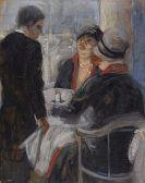 Georg Tappert - Zwei Frauen und Kellner im Café