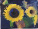 Emil Nolde - Zwei Sonnenblumen vor dunklem Grund